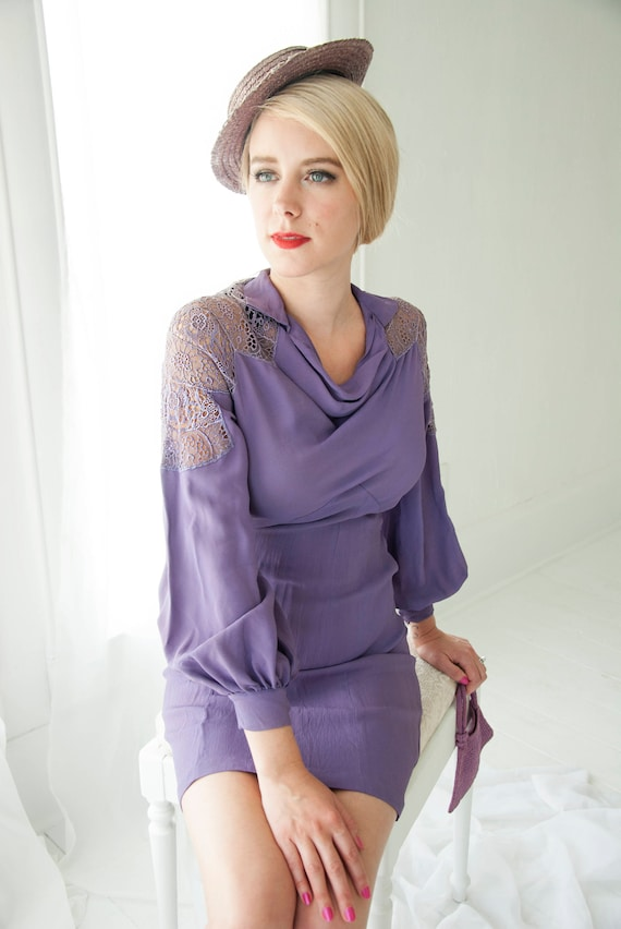 Vintage purple 1930s dress, lavender long sleeves short mini formal, lace cowl neck XXS XS petite
