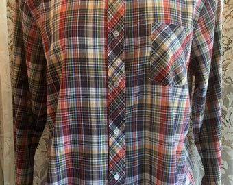 Size XL Vintage Plaid Shirt Sears 44 Bust 1980s