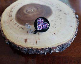 Handpainted Dot Painted Pink & Purple Heart Retractable Badge ID Holder Reel