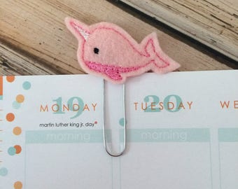 Narwhal Planner Clip, Gifts for Bookworms, Daily Planner Accessory, Paperclip Bookmark, Planner Accessories - Pick Color