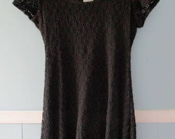 Vintage 1990's black lace mini-dress / Grunge baby doll dress / 1990s party dress / lace cocktail minidress / Size small to medium