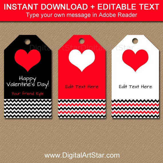 It is a picture of Bright Printable Valentines Day Tags