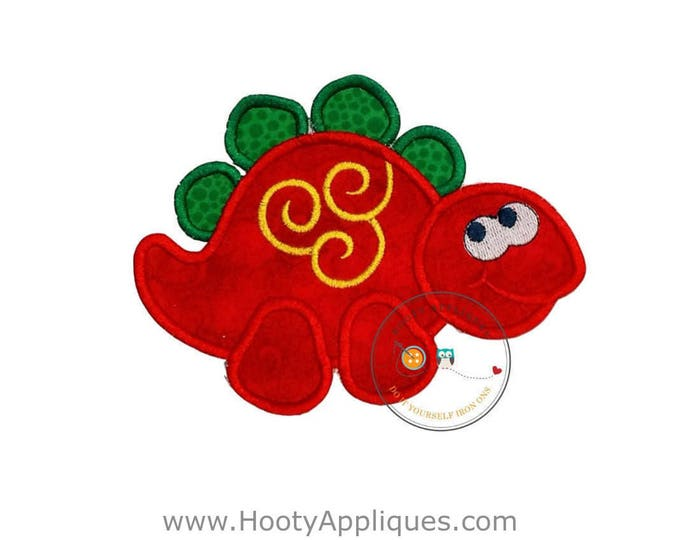 Red stegosaurus Dino embroidered fabric iron on applique, Large red and green dinosaur patch, ready to ship, iron on embellishment