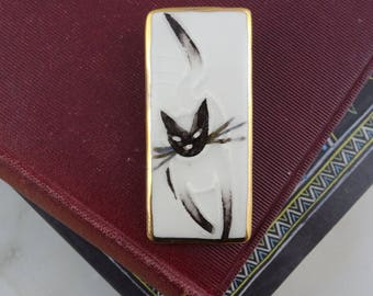 Vintage Hand Painted Ceramic Kitty Cat Brooch, Signed Porcelain Siamese Cat Pin