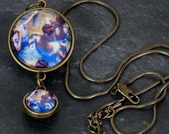Doubled Sided Round Glass Pendant Two Pendants in One Bronze Pendant Bronze Snake Chain  Ballerinas Edgar Degas Dance
