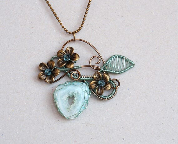 Sage green Druzy Agate wire wrapped pendant with flowers and leaves