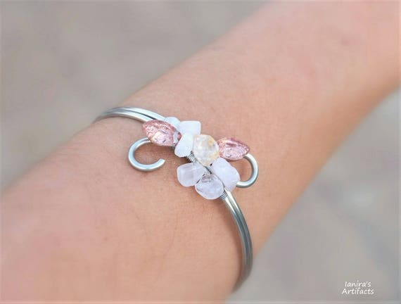 Rose Quartz bangle bracelet silver wire gemstone leafy nature jewelry arm cuff christmas gift for women wedding bridal peach pink handmade