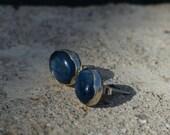 Kyanite stud earrings, blue stone