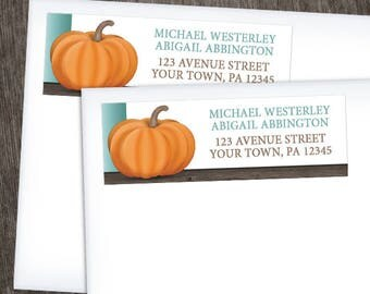 Pumpkin Address Labels Autumn - Rustic Wood Orange Teal and Brown for Fall - Printed Address Labels