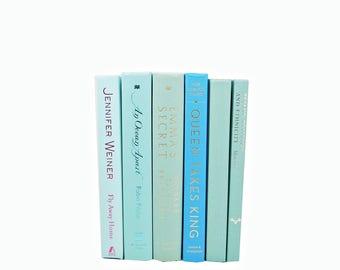 Ocean Green Blue Books, Decorative Books, Wedding Centerpiece, Book Decor, Old book Set, Book Collection, Aqua Books, Instant Decoration