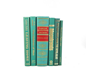 Teal Green Decorative Books, Turquoise Books, Old Book Decor, Wedding Decor Centerpiece, Book Collection, Instant Library, Book Set stack