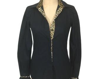vintage 1990's ROBERTO CAVALLI blouse / Just Cavalli / black leopard print / cotton / women's vintage blouse / tag size 40