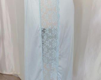 Vintage blue lace half slip, 80s lingerie
