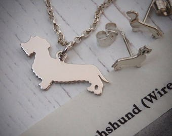 Handmade Sterling Silver Wire-Haired Dachshund Dog Necklace