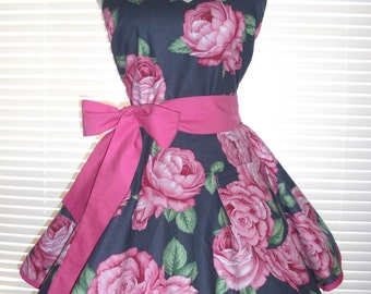 Fifties Style Sweetheart Retro Apron Jumbo Roses on a Gray Background Circular Flirty Skirt Large Pocket