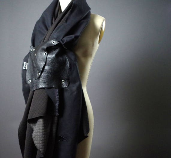 Leather Black Scarf -  Big Black Scarf - Winter Black Scarf - Black Scarf - Women's Accessories - Leather Scarf