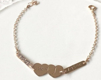 Rose Goldfilled Double Heart and Bar Personalized Bracelet - Family ID Silver Bracelet - Rose Gold Initial Family Bracelet - Date Br