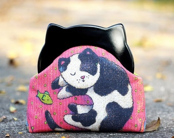 Resin frame clutch, Cat clutch purse