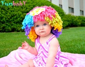 Clown Costume, Halloween Costume, Clown WIg, Dress up clothes, Yarn wigs, Costume for girls, Pageant Hair