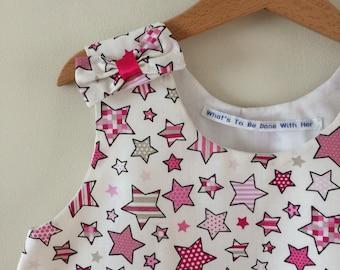 Star Dress Age 6 - Starburst Dress - Handmade Star Dress to fit age 6 - Starry Sky Dress - Handmade in the Uk - Girl's Pinafore Dress