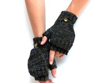 Cliffs of Moher Gloves - Hand Knit Gloves - Merino Fingerless Gloves - Mitten Flap Gloves - Merino Mittens - Wrist Warmers - Amy LaRoux