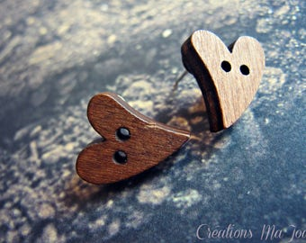 Boucles d'oreilles Coeurs en bois et inox //  Hearts earrings in wood and stainless steel