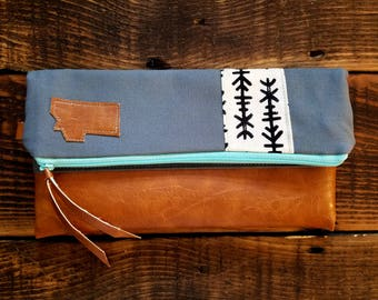 Foldover Montana Clutch/Ivory & black print/Gray canvas/Caramel vegan leather details/Teal zipper