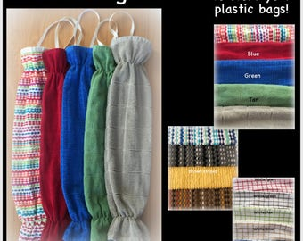 READY TO SHIP Plastic bag holders, storage for plastic shopping bags, kitchen towel bag holder tan red green blue yellow grey