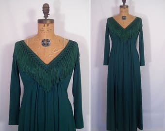 1970s green fringe maxi dress • 70s pine green party dress •  vintage how high the moon gown