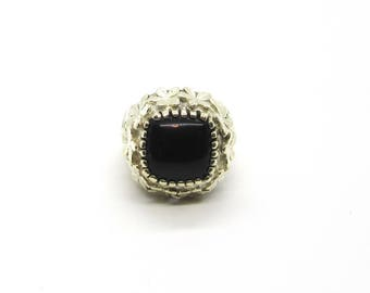 Sterling Silver Black Onyx Ring, Heavy Sterling Ring, Vintage Black Onyx Ring, Vintage Sterling Ring, Sterling Ring with Floral Design