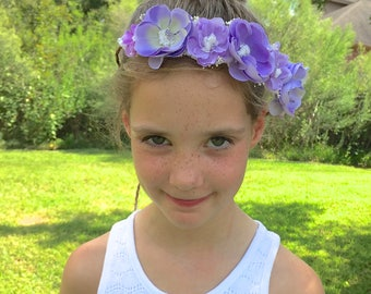 Purple, Lavender, Ivory Wired Floral Crown Halo - Newborn, Baby, Toddler, Child Photo Prop - Ready to Ship