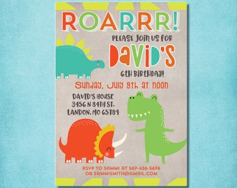 Dinosaur Birthday Invitation boy dinosaur birthday party MC41 Digital or Printed