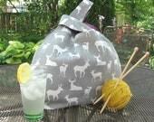 Knitting bag, Deer project bag for crochet or knitting, Designer canvas Yarn Bag gift for knitter, Gray Tote bag