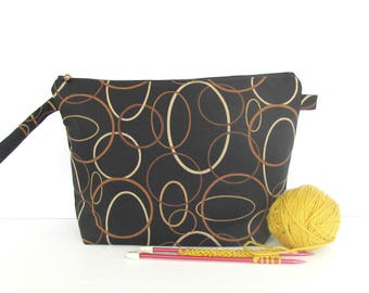 Wedge knitting bag, shawl, sweater Crochet project bag, Yarn bowl gift for knitters in black, rust, cream