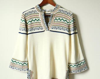 70s Bohemian Bell Sleeve Sweater / Vintage Boho Tribal Knit Sweater / Creamy Ivory Knit Tribal Sweater