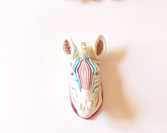 RAINBOW SMALL ZEBrA Faux Taxidermy small animal head wall mount in Rainbow Stripes with Light Bronze Eyes & Ears Kids room Decor Kids Party