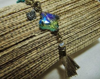 Vintage Inspired Flea Market Style Irredescent Cross Crystal with Fringe Tassel Necklace