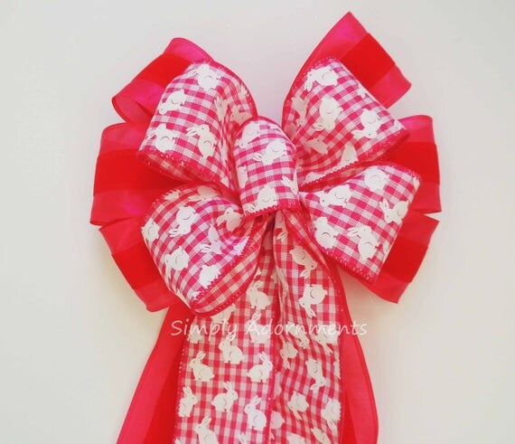 Pink Easter Bunny Wreath Bow Easter Swag Decor Bow Easter Wreath Bow Easter Door Hanger Decor Easter Party Decoration Easter Basket Gift Bow