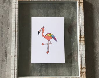 Rainbow Flamingo - Elle Karel Illustration