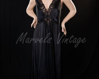 Olga Nightgown Plus Size XXXL Vintage Long Black Negligee' Full Sweep Style 98280 Extra Large 3X