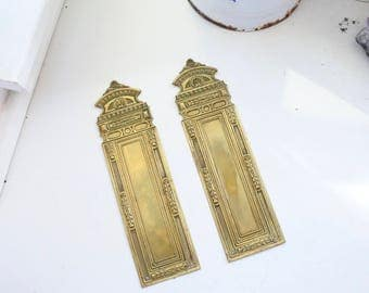 Antique French NeoClassical Push Plate, Christmas, Door furniture, Embossed Design, c. 1910
