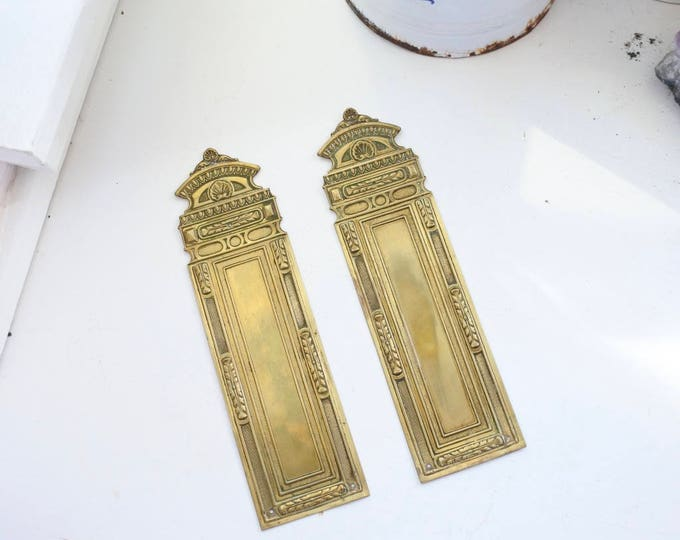 Featured listing image: Antique French NeoClassical Push Plate, Christmas, Door furniture, Embossed Design, c. 1910
