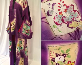 Lovely Purple Damask Silk Japanese Kimono Handpainted  with 'framed' scenes of flowers and fruits