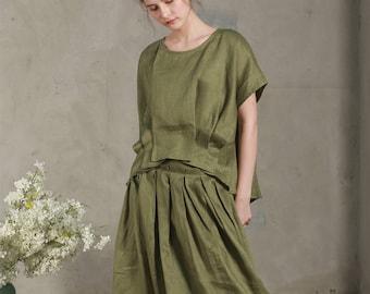 moss green linen blouse top (8 colors), pleated blouse, drop shoulder linen tops, oversized blouse, pintuck shirt, linen shirt, plus size
