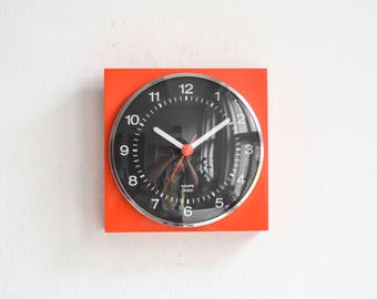Vintage Krups clock, orange wall clock, West German clock, Krups 70s tangerine nectarine