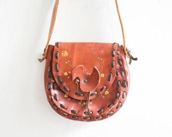 Vintage saddle bag hand bag purse leather equestrian satchel Mickey Mouse
