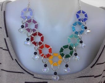 Hexagon and Crystal Necklace. Handmade seed bead woven rainbow colours OOAK statement