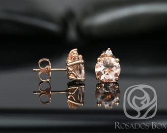 Rosados Box Nicole 7mm 14kt Rose Gold Round Morganite and Diamond Stud Earrings