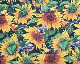 Sunflower Fabric, Chickadee Fabric, Goldfinch Fabric, Sunflower Quilting Cotton, Flowers & Birds, David Textiles, By the Half Yard