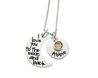 Personalized Name I Love You To The Moon And Back - Child Name - Mommy Necklace - Engraved Necklace - Mother Jewelry - Gift For Mom - 1209